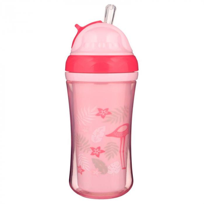 Biberon cu pai 260 ml 12+ luni Canpol Babies Sport Cup 74/050, Roz 0