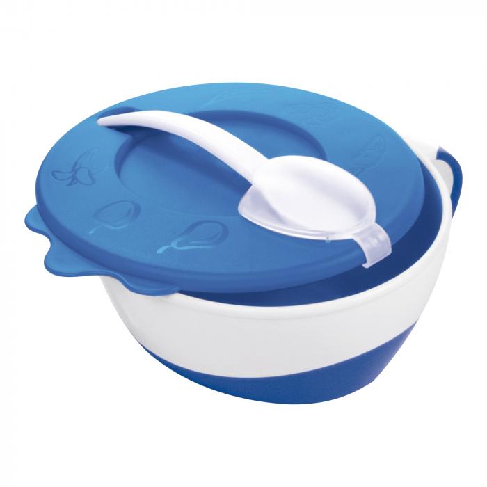 """Bol cu lingurita si capac """"Vacuta"""", Canpol babies®, 350 ml, albastru 0"""