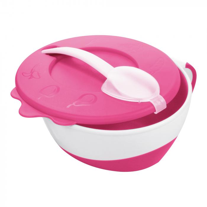 "Bol cu lingurita si capac ""Vacuta"", Canpol babies®, 350 ml, roz [0]"