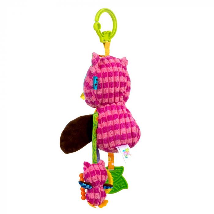 Bufnita mamica, Bali Bazoo, jucarie cu parti moi, inele, oglinda, chitaitoare si fosnaitoare, multicolora 2