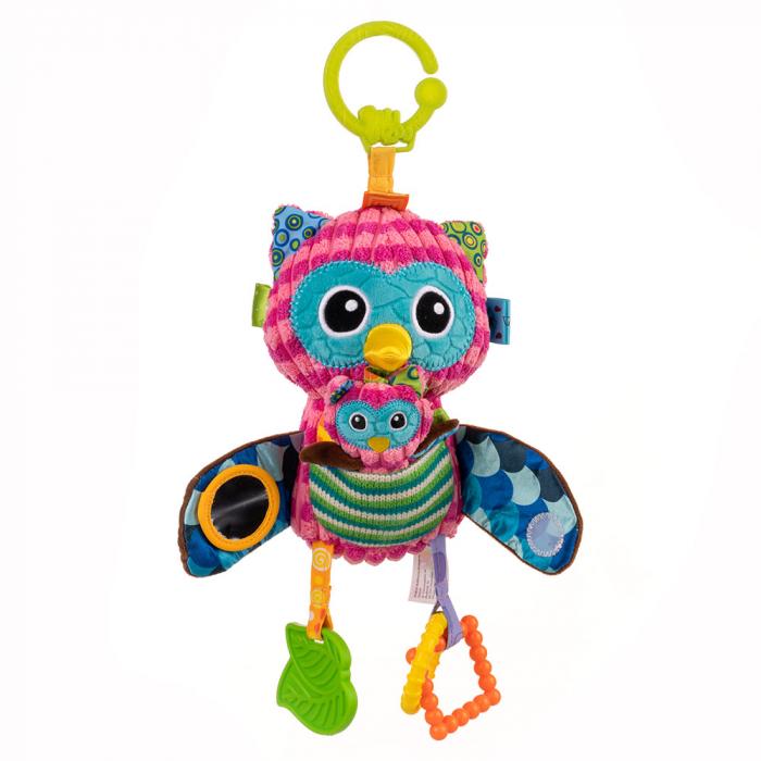 Bufnita mamica, Bali Bazoo, jucarie cu parti moi, inele, oglinda, chitaitoare si fosnaitoare, multicolora 0