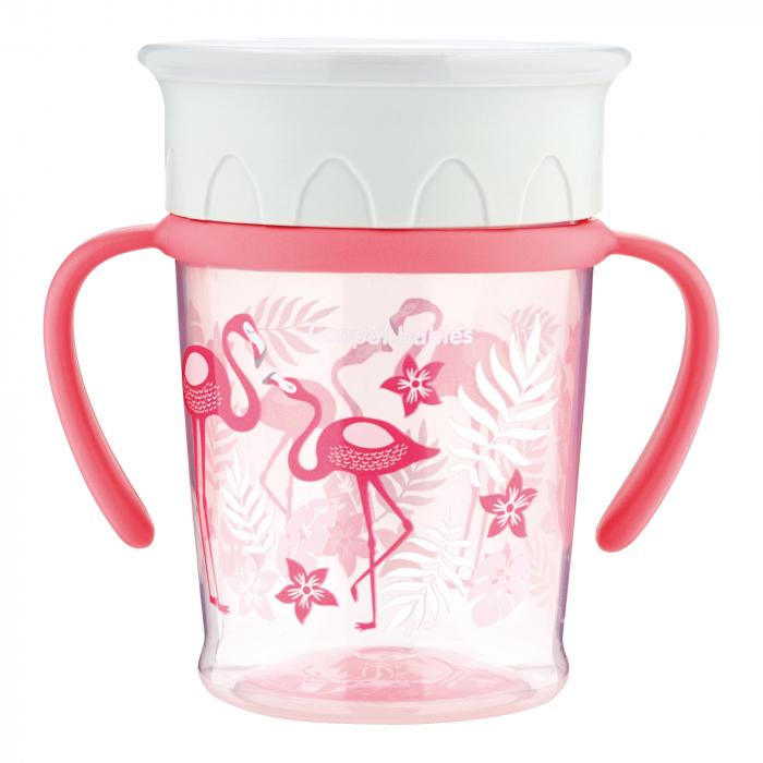 "Cana antrenament 360° ""Jungle"", Canpol babies®, 270 ml, fara BPA, corai 0"