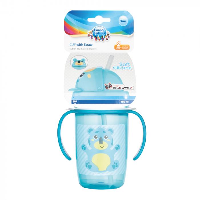 "Cana sport cu pai ""Hello Little!"", Canpol babies®, 400 ml, fara BPA, turcoaz 1"