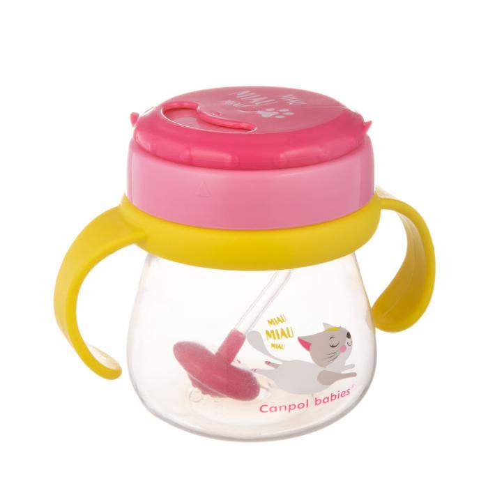 Cana sport cu pai si supapa mobila, Canpol babies®, 250 ml, fara BPA, roz 1