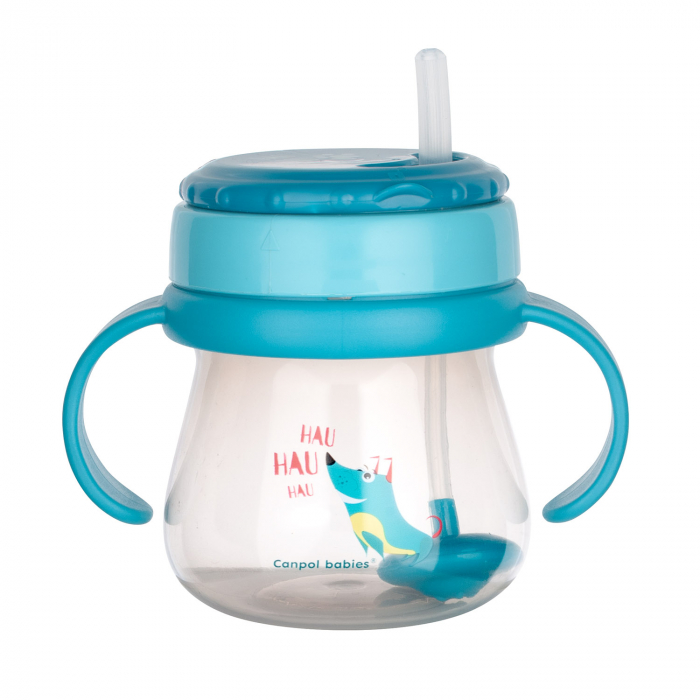 Cana sport cu pai si supapa mobila, Canpol babies®, 250 ml, fara BPA, turcoaz [2]