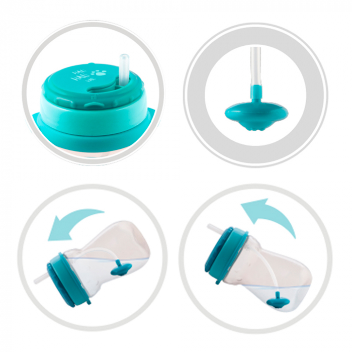 Cana sport cu pai si supapa mobila, Canpol babies®, 250 ml, fara BPA, turcoaz 1