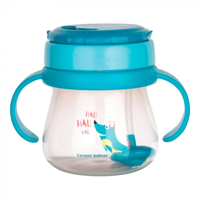 Cana sport cu pai si supapa mobila, Canpol babies®, 250 ml, fara BPA, turcoaz 0