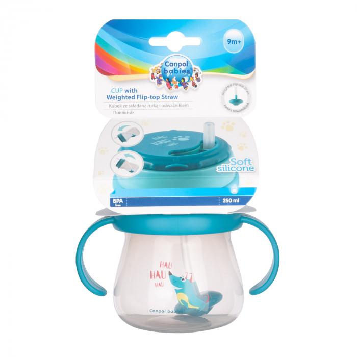 Cana sport cu pai si supapa mobila, Canpol babies®, 250 ml, fara BPA, turcoaz [3]