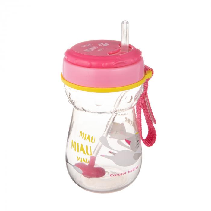 Cana sport cu pai si supapa mobila, Canpol babies®, 350 ml, fara BPA, roz 0