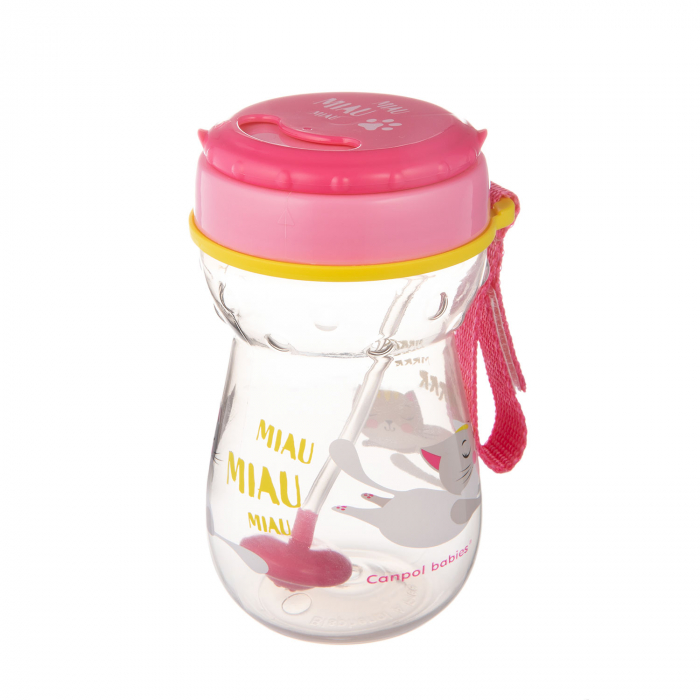 Cana sport cu pai si supapa mobila, Canpol babies®, 350 ml, fara BPA, roz 1