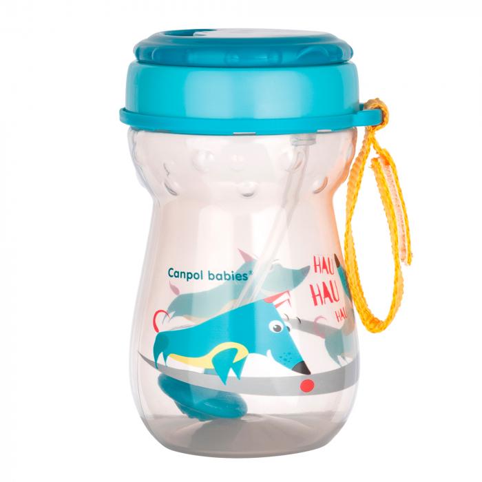 Cana sport cu pai si supapa mobila, Canpol babies®, 350 ml, fara BPA, turcoaz 0