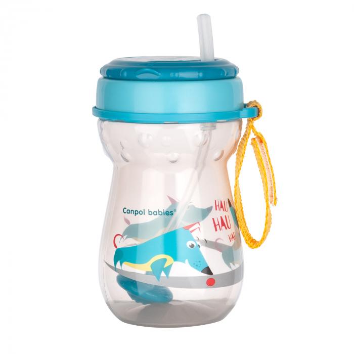 Cana sport cu pai si supapa mobila, Canpol babies®, 350 ml, fara BPA, turcoaz [2]