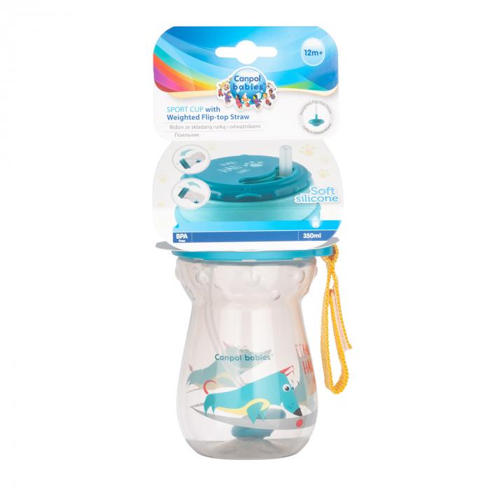 Cana sport cu pai si supapa mobila, Canpol babies®, 350 ml, fara BPA, turcoaz [5]