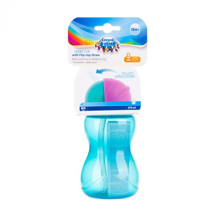 Canita sport cu pai retractabil, Canpol babies®, fara BPA, 270 ml, albastru [4]