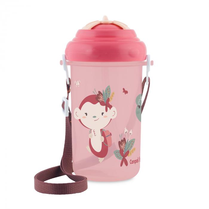 Canita sport cu pai retractabil, Canpol babies®, fara BPA, 400 ml, roz 0