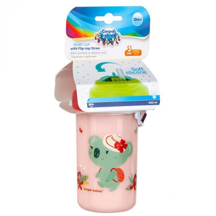Canita sport cu pai retractabil, Canpol babies®, fara BPA, 400 ml, roz 1
