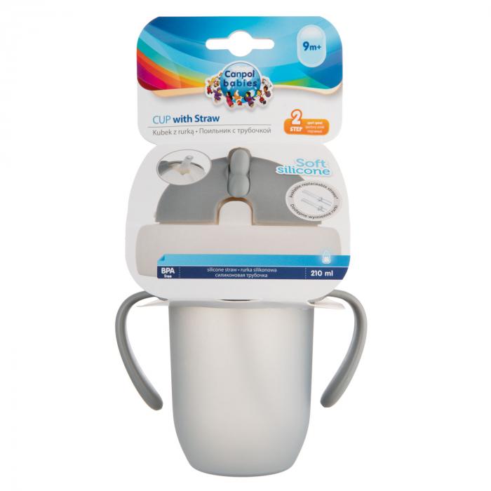 "Canita sport ""Matte Pastels"" cu pai retractabil, Canpol babies®, fara BPA, 210 ml, gri [7]"