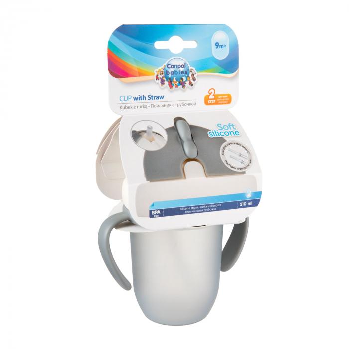 "Canita sport ""Matte Pastels"" cu pai retractabil, Canpol babies®, fara BPA, 210 ml, gri [6]"