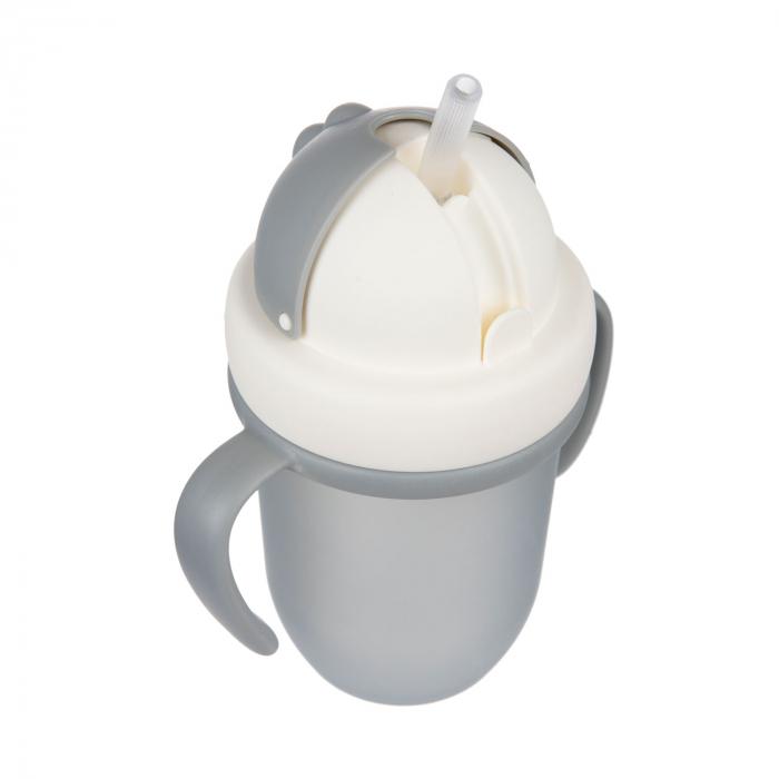 "Canita sport ""Matte Pastels"" cu pai retractabil, Canpol babies®, fara BPA, 210 ml, gri [5]"
