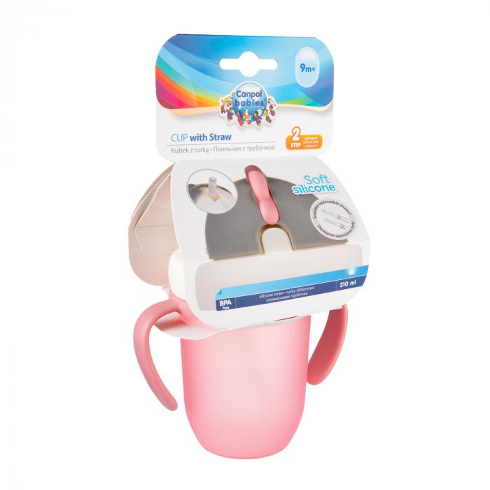 "Canita sport ""Matte Pastels"" cu pai retractabil, Canpol babies®, fara BPA, 210 ml, roz [6]"