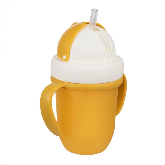 "Canita sport ""Matte Pastels"" cu pai retractabil, Canpol babies®, fara BPA, 210 ml, galben [3]"