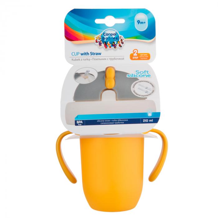 "Canita sport ""Matte Pastels"" cu pai retractabil, Canpol babies®, fara BPA, 210 ml, galben [7]"