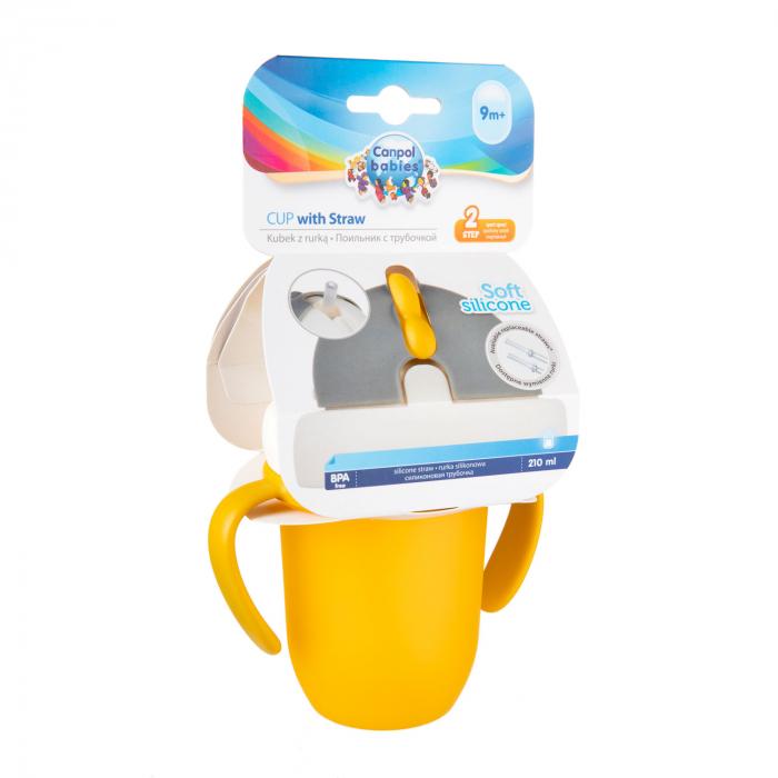 "Canita sport ""Matte Pastels"" cu pai retractabil, Canpol babies®, fara BPA, 210 ml, galben [6]"