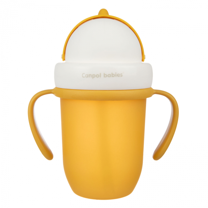"Canita sport ""Matte Pastels"" cu pai retractabil, Canpol babies®, fara BPA, 210 ml, galben [1]"