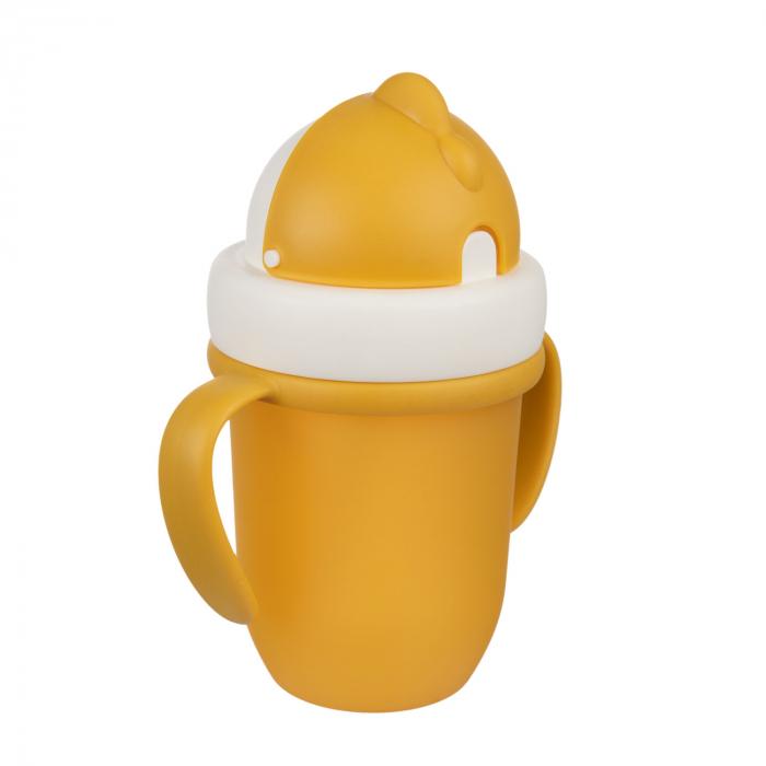 "Canita sport ""Matte Pastels"" cu pai retractabil, Canpol babies®, fara BPA, 210 ml, galben [2]"
