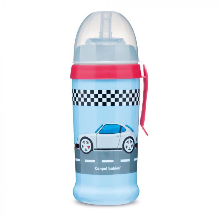 "Canita sport ""Racing"" cu pai, Canpol babies®, fara BPA, 350 ml, albastru inchis 0"