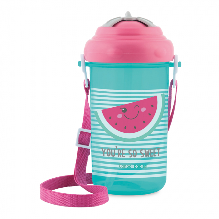 "Canita sport ""You're so sweet"" cu pai retractabil, Canpol babies®, fara BPA, 400 ml, roz 0"