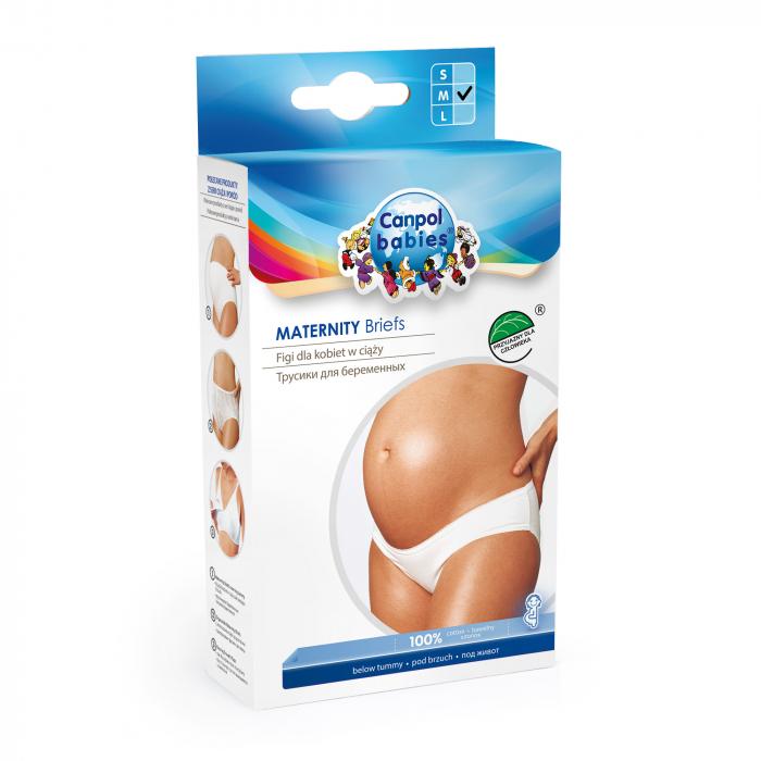 Chiloti gravida sub burta, Canpol babies®, bumbac, marimea M, alb [0]