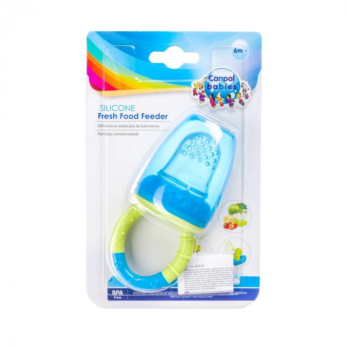 Dispozitiv de hranire pentru introducerea primelor fructe si legume, Canpol babies®, fara BPA, albastru/galben 5