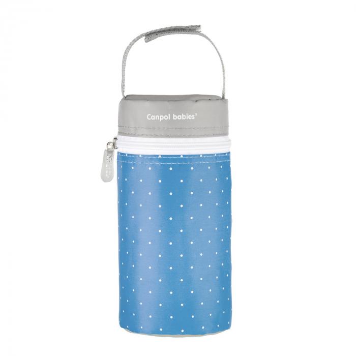 Izolator din material moale pentru biberoane, Canpol babies®, imprimat buline, albastru/gri [0]