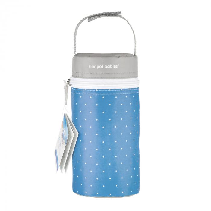 Izolator din material moale pentru biberoane, Canpol babies®, imprimat buline, albastru/gri 1