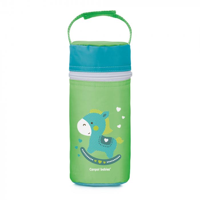 """Izolator din material moale pentru biberoane, Canpol babies®, """"Toys"""", verde 0"""