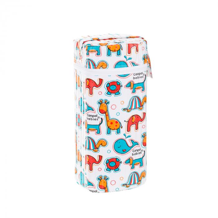 """Izolator din material moale pentru biberoane """"Colourful Animals"""" varianta 2, multicolor 1"""