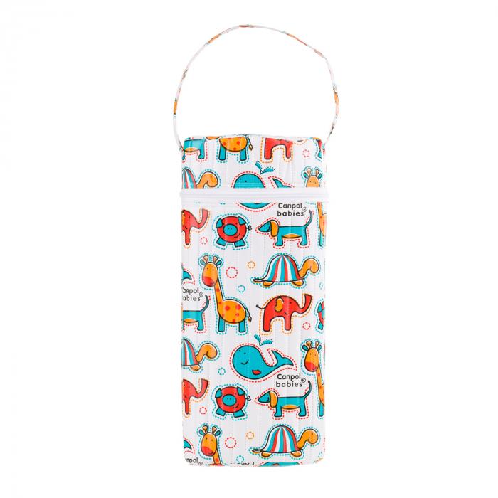 """Izolator din material moale pentru biberoane """"Colourful Animals"""" varianta 2, multicolor 0"""
