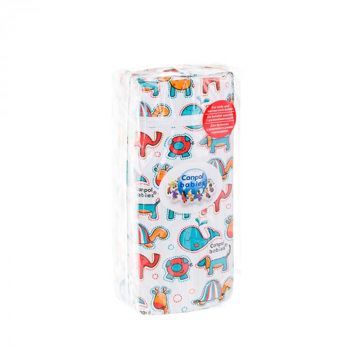 """Izolator din material moale pentru biberoane """"Colourful Animals"""" varianta 2, multicolor 3"""