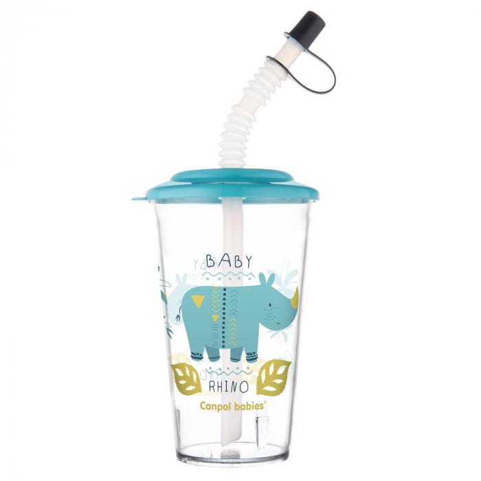 "Pahar cu pai ""Africa"", Canpol babies®, fara BPA, 320 ml, albastru [1]"