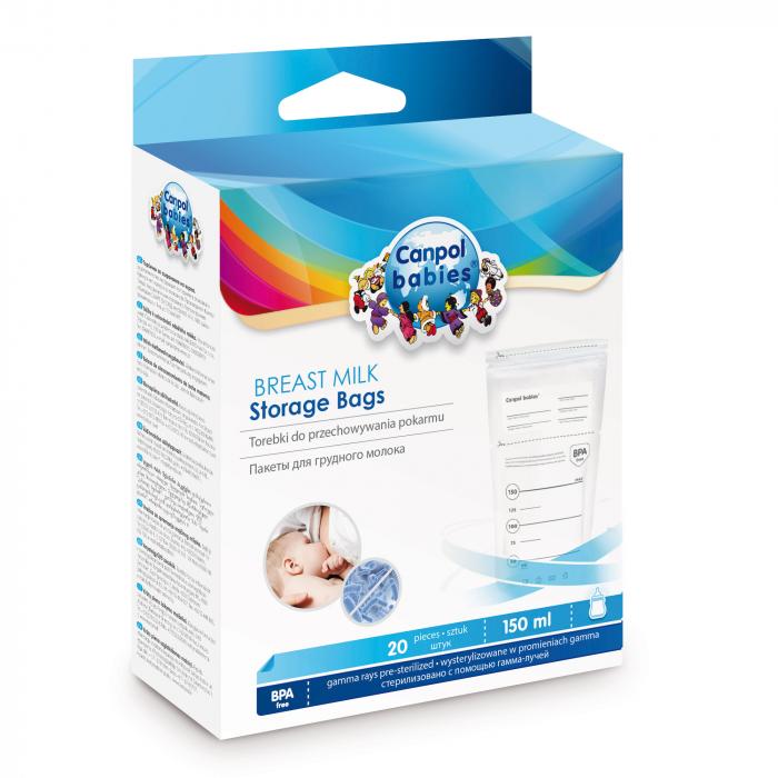 Pungi sterile pentru stocarea laptelui matern, Canpol babies®, 20 buc 1