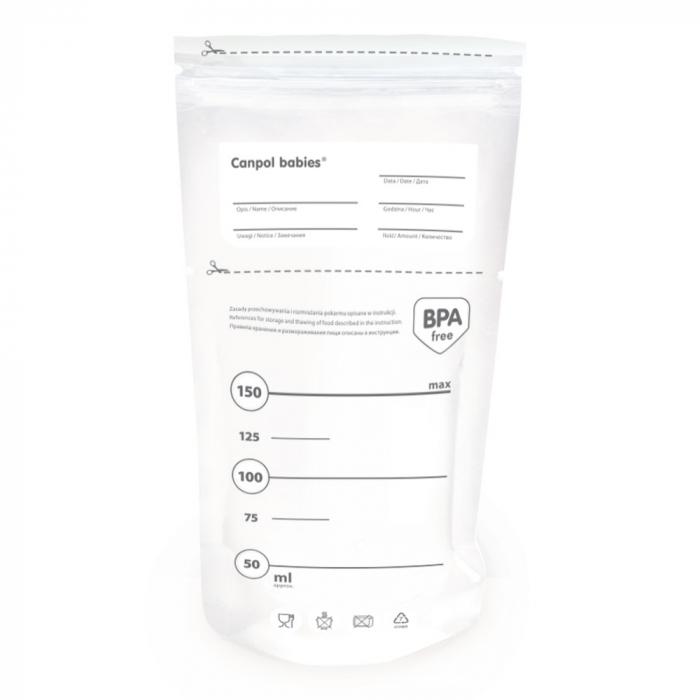 Pungi sterile pentru stocarea laptelui matern, Canpol babies®, 20 buc 0