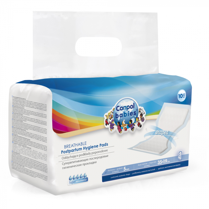 Set 10 absorbante post-partum, Canpol babies®, conturate cu forma anatomica, alb [0]