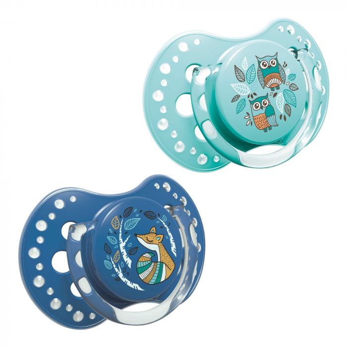 "Set 2 suzete dinamice ""Folky-boy"" cu tetina simetrica silicon, Lovi®, fara BPA, 3-6 luni+, multicolor 0"