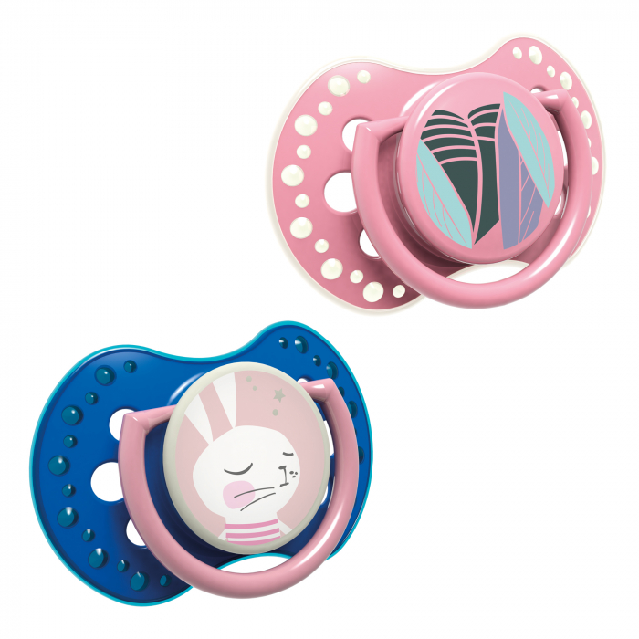 "Set 2 suzete dinamice ""Follow The Rabbit - girl"" cu elemente fosforescente si tetina simetrica silicon, Lovi®, fara BPA, 6-18 luni, multicolor 0"