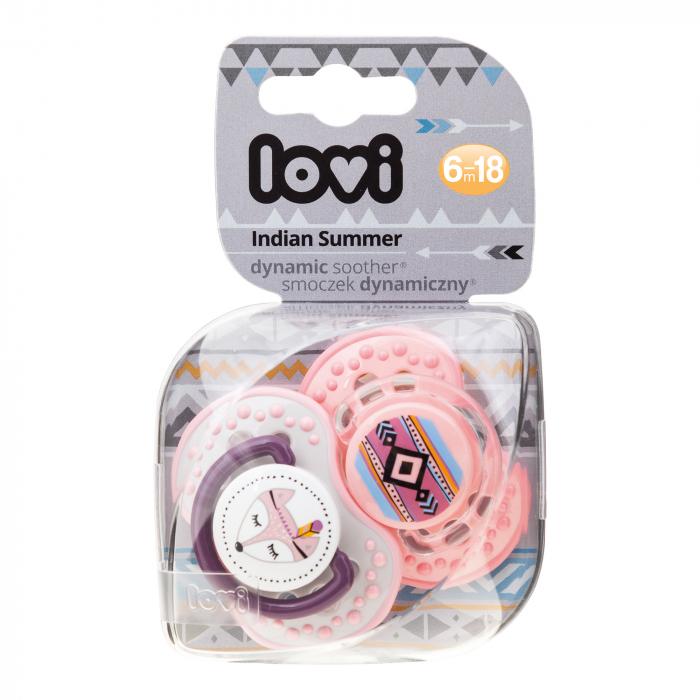 "Set 2 suzete dinamice ""Indian Summer - girl"" cu tetina simetrica silicon, Lovi®, fara BPA, 6-18 luni, multicolor 1"
