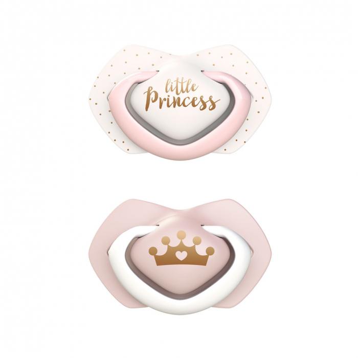 """Set 2 suzete """"Royal Baby"""" cu tetina simetrica silicon, roz [0]"""