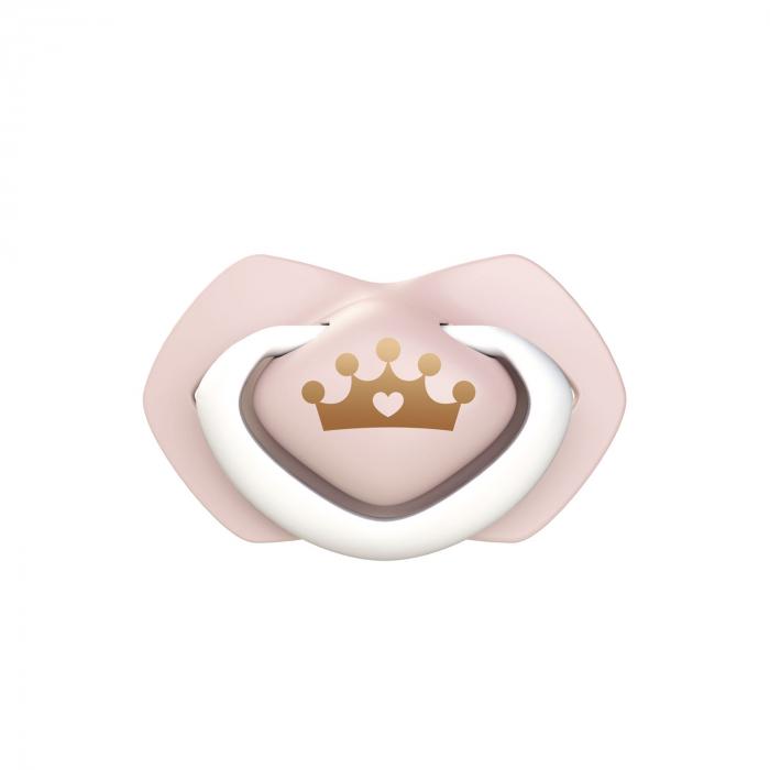 """Set 2 suzete """"Royal Baby"""" cu tetina simetrica silicon, roz [1]"""