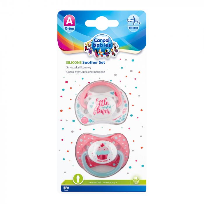 "Set 2 suzete ""Wild Nature + Cupcake"" cu tetina simetrica silicon, Canpol babies®, fara BPA, 0-6 luni, roz [1]"