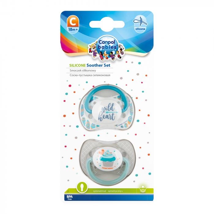 "Set 2 suzete ""Wild Nature + Cupcake"" cu tetina simetrica silicon, Canpol babies®, fara BPA, 18 luni+, gri 1"
